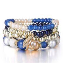 4 sor - rugalmas karkötő fémbetétekkel és aranyszín díszekkel - kék