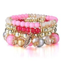 4 sor - rugalmas karkötő fémbetétekkel és aranyszín díszekkel - rózsaszín