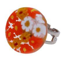 Arlecchino - Muránói üveg, állítható méretű gyűrű - narancs, fehér