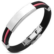 Gravírozható nemesacél - gumi karkötő 10*230 mm - ezüst, rózsaszín sodrott mintás