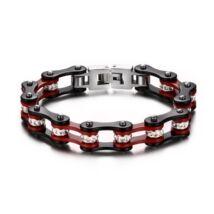 Motorlánc- acél férfi karkötő - piros, fekete, fehér csillogó kristályokkal