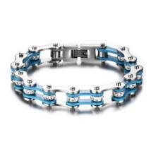Motorlánc- acél karkötő - kék, ezüst, csillogó kristályokkal