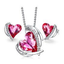 Pink Angel- Swarovski kristályos szett-rózsaszín-ezüst