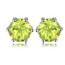 Peridot fülbevaló - kerek - ezüst - zöld