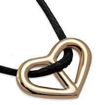 Arany szív - nemesacél medál kord nyakláncon