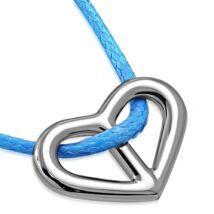 Ezüst szív - nemesacél medál kord nyakláncon
