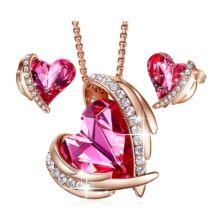 Pink Angel- Swarovski kristályos szett-rózsaszín