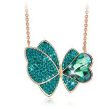 Butterfly - Swarovski kristályos nyaklánc - méreg zöld