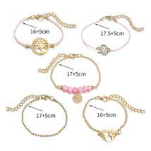 OCEAN divatos karkötőszett - 5 darabos, rózsaszín, arany