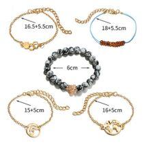 OCEAN divatos karkötőszett - 5 darabos, arany,szürke gyöngy - ezüst