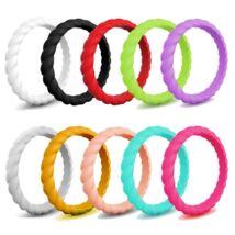 Fonott - trendi szilikongyűrű - 10 db-os szettben - 3mm