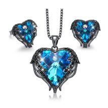 Angyalszárny - Swarovski kristályos szett- feket-kék