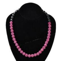 30 gömbös, exkluzív shamballa nyaklánc - rózsaszín
