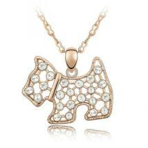 Csillogó kutyus - Swarovski kristályos - Medál - fehér