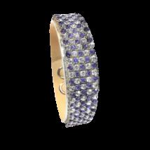 5 kősoros bőr karkötő - Tanzanite - Crystal - Swarovski kristályos - lila-fehér