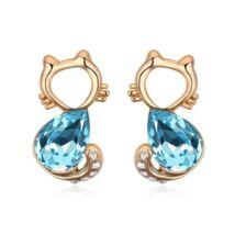 Macsek  Swarovski kristályos fülbevaló - kék