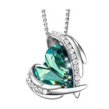 Green Angel- Swarovski kristályos nyaklánc-zöld-ezüst