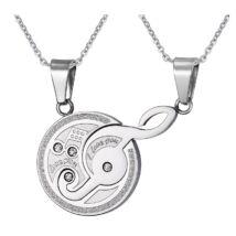 Muzsika- páros acél nyaklánc - ezüst
