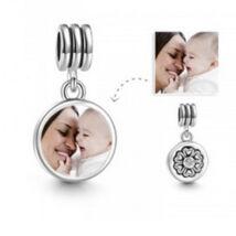 Fotó-charm készítés egyedi képpel - virág motívummal - Pandora stílusú, 925 ezüstből
