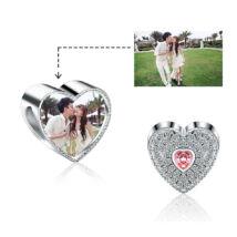 Fotó-charm készítés egyedi képpel - rózsaszín kristállyal - Pandora stílusú, 925 ezüstből