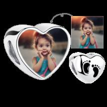 Fotó-charm készítés egyedi képpel - bébitalpacskákkal - Pandora stílusú, 925 ezüstből