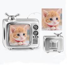 Fotó-charm készítés egyedi képpel - televízió alakú - Pandora stílusú, 925 ezüstből