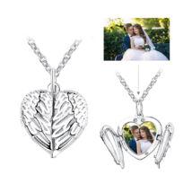 Fotó-medál készítés egyedi képpel - kinyitható szárnyas szív, 925 ezüstből