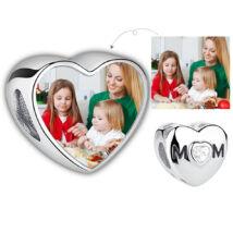 Fotó-charm készítés egyedi képpel - MOM felirattal - Pandora stílusú, 925 ezüstből