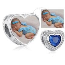 Fotó-charm készítés egyedi képpel - kék kristállyal - Pandora stílusú, 925 ezüstből