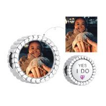 Fotó-charm készítés egyedi képpel - Yes I Do felirattal - Pandora stílusú, 925 ezüstből