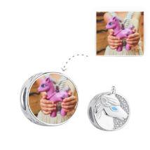 Fotó-charm készítés egyedi képpel - unikornis mintával - Pandora stílusú, 925 ezüstből