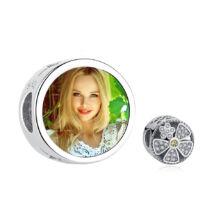 Fotó-charm készítés egyedi képpel - virág mintával - Pandora stílusú, 925 ezüstből