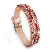 4 kősoros bőr karkötő- Rose-mosaic - Swarovski kristályos