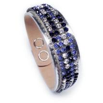 4 kősoros bőr karkötő- Purple Velvet - Swarovski kristályos - kék