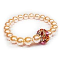 Swarovski gyöngy karkötő - Peach, színes Swarovski kristályos dísszel