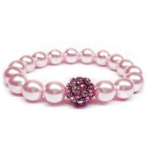 Swarovski gyöngy karkötő - Rosaline- nagyméretű kristálydísszel - rózsaszín