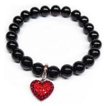 Swarovski gyöngy karkötő -szív charmmal- Mystic Black - fekete