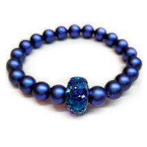 Swarovski gyöngy karkötő - Iridescent Dark Blue - kék