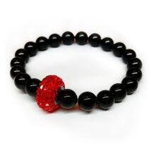 Swarovski gyöngy karkötő Swarovski kristályokkal - Mystic Black - fekete
