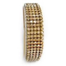 5 kősoros bőr karkötő - Golden Shadow - Swarovski kristályos - arany