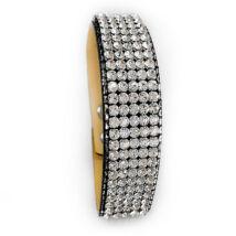 5 kősoros bőr karkötő - Crystal - Swarovski kristályos - fehér