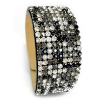 9 kősoros bőr karkötő - Jet, Black Diamond, Crystal - Swarovski kristályos - fekete