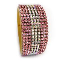9 kősoros bőr karkötő - Light Rose, AB Crystal - Swarovski kristályos - rózsaszín