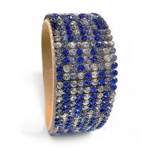 9 kősoros bőr karkötő -kék téglamintás - Swarovski kristályos