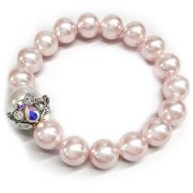 Swarovski kristályos gyöngy karkötő  - Coin Pearl - színjátszós kehelydísszel