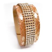 5 kősoros bőr karkötő - Golden Shadow- Swarovski kristályos