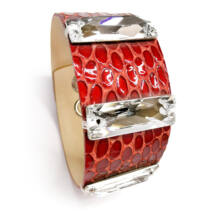 Varrott köves bőr karkötő- Crystal - Swarovski kristályos