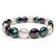 Swarovski kristályos gyöngy karkötő  - Coin Pearl - Full Color