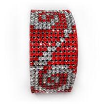 11 kősoros bőr karkötő- piros indamintával- Swarovski kristályos