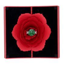 Piros rózsa gyűrűtartó - piros díszdobozban